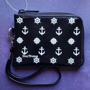 NWT Anchor Zipper Coin Purse - Black Vegan Leather